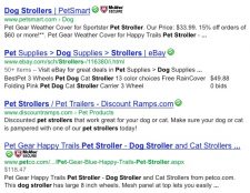 Dog Stroller Website Results in Google