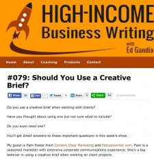 Check out Ed Gandia's podcast with me, discussing Creative Briefs