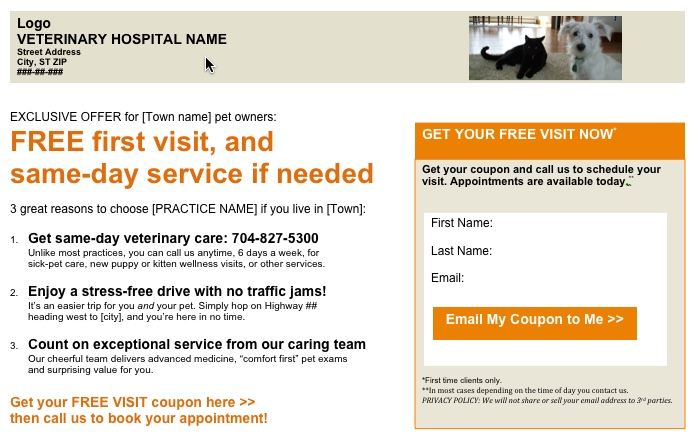 PetCopywriter.com image of sample landing page for pet companies